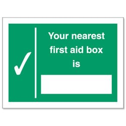 "Stewart Superior Schild ""Your Nearest First-Aid Box Is"" selbstklebend"