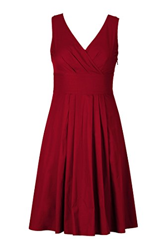 Eshakti Women'S Trapunto Trim Cotton Poplin Dress L-14 Short Crimson