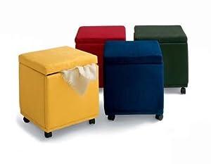 navy blue microfiber cube storage footstool ottoman. Black Bedroom Furniture Sets. Home Design Ideas