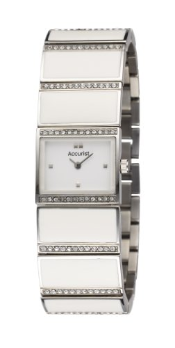 Accurist Ladies Stainless Steel and White Resin Bracelet Watch set LB1358W with Swarovski Crystals