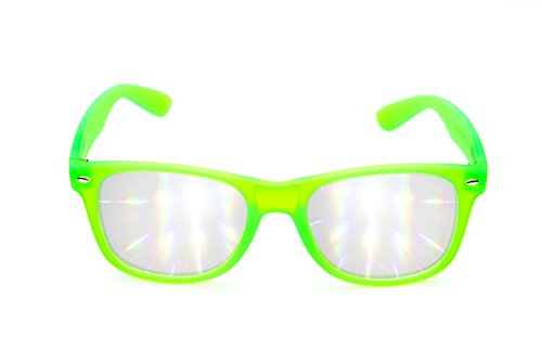 Diffraction Glasses - Glow In The Dark - High Quality Effect - Rave Accessories - Green