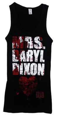 The Walking Dead Mrs Daryl Dixon Womens Petite Juniors Tank Top T-Shirt, Medium, Black