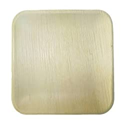 Perfect Disposable Party Plates- Areca leaf plates - Palm leaf plates - 100% Natural eco friendly plates - Bio degradable Square Classic Bowl (V014, Natural , 5 Inch X 5 Inch) Pack of 20 Bowls