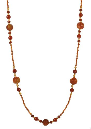 Treasures of Asia Carved Serpentine and Smooth Carnelian Bead Endless Necklace 36