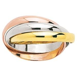 So Chic Jewels - 9k Tricolor Yellow White Pink Gold 3 Interlaced Mobile Rings Russian Wedding Ring