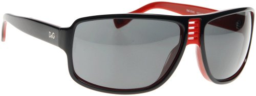 D&g By Dolce & Gabbana Unisex 3045 Black On Red Frame/Grey Lens Plastic Sunglasses