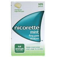 Nicorette Full Strength Nicotine Gum 4Mg Mint Flavour 105 pieces