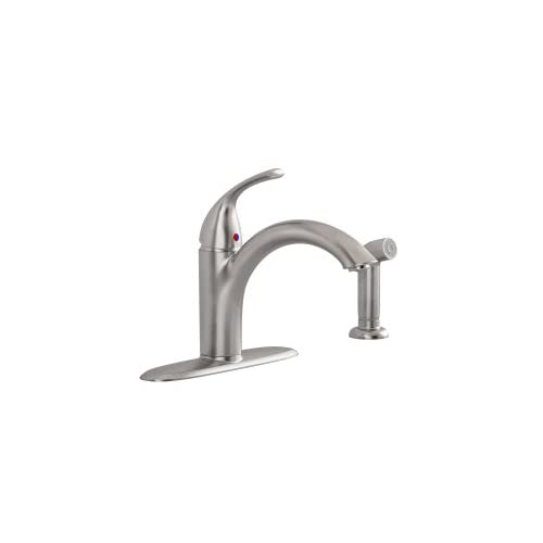 Cyber Monday Deals American Standard 4433.001.075 Quince Single Lever Handle Kitchen Faucet with Side Spray, Stainless Steel