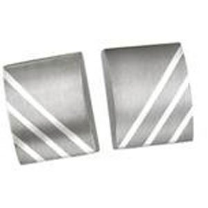 Titanium and Sterling Silver Inlay Dome Rectangle Cuff Links