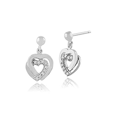9ct White Gold 0.07ct Diamond Hearts Drop Earrings