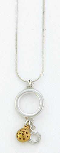 Ana Verdun Jewellery Snake Chain (1 Mm) With 18 Mm Diam. Ring, 1 Small Gp Charm & Mini-Ring