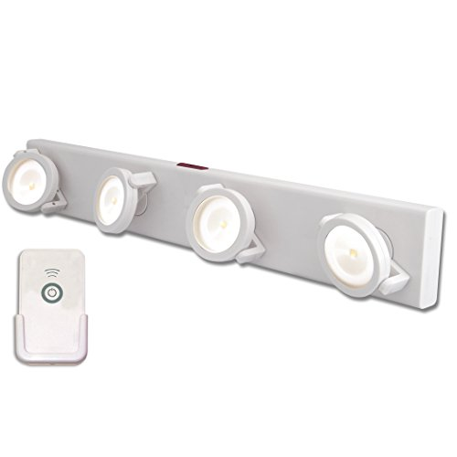 White Wireless Led Light Remote Battery Operated Swivel
