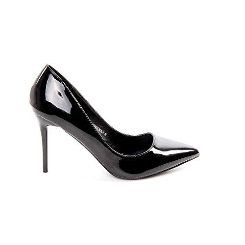 Donna scarpa da donna décolleté classica con tacco stiletto scarpe smalto Buisness, lucido, nero (nero), 41 EU