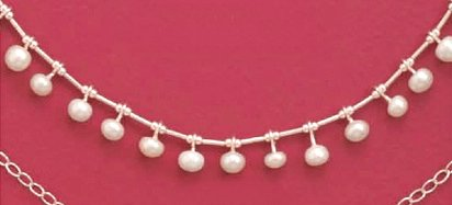 Fifteen 4mm Cultured White Pearl Dangles on Liquid Silver Sterling Silver Necklace, 16 in