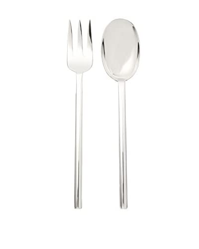 Calvin Klein Collection Ellipse Serving Fork & Spoon, Silver