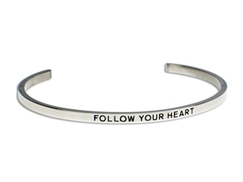 FOLLOW YOUR HEART:Gift for Her,Mantra Bracelet, Inspirational gift,100% Guaranteed,Perfect Gift.