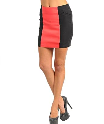 G2 Chic Women's Zipper Back Two-Tone Colorblock Bodycon Fit Skirt(BTM-SKT,LRD-S)