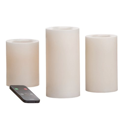 Candle Impressions CAT25667CR3R 4-Inch, 5-Inch, and 6-Inch Remote Control Flameless Candles with Vanilla Fragrance, Cream, 3-Pack