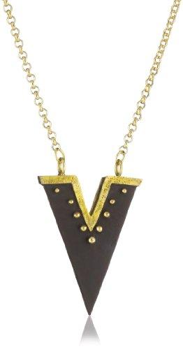 Karen London Star Gazer Wood and Brass Pendant Necklace