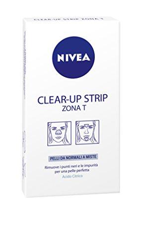 Nivea - Clear-up Strip Zona T, rimuve I punti neri e le impurità per una pelle perfetta, pelli da normali a miste, Acido Citrico -