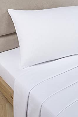"""Bedding Heaven 2' 6"""" Percale 180 Thread Count Fitted Sheet. WHITE. Ideal for Bunk Bed, Small Single and Caravan Bed."""