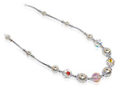 Sterling Silver Clear Crystal and Imitation Pearl Necklace 20 inch Made with Swarovski Elements