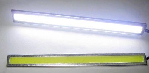Lemonbest® 2 Pcs Set General 12V Waterproof Aluminum High Power 6000K Cool White Slim Cob Led Drl Daylight Driving Daytime Running Light Lamp For Car Vehicle