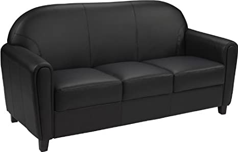 HERCULES Envoy Black Leather Sofa Round Arms & Back with Wood Feet