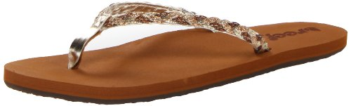 Reef Women's Reef Twisted Stars Flip Flop, Tan/Champagne, 8 M US