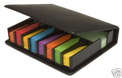 Sticky Memo Index Tab Flags Set Leather Look Case Like Post-It Notes