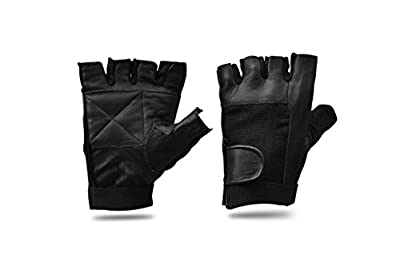 Body building weight lifting Black Gloves Fingerless Leather Cycle Biker Gym Gloves by AllSorts