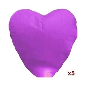 5 Pcs Purple Heart-shaped Chinese Fire Sky Lanterns Fly Flying Paper Wish Wishing Lamp Balloon Lantern for Wedding Festival Xmas Christmas Party (Purple)