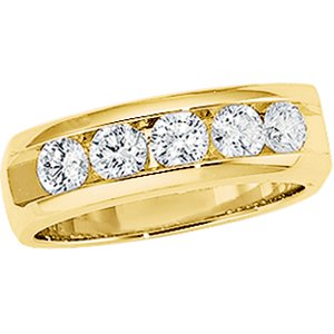 14K Yellow Gold 1 ct tw Diamond Wedding Band: Gents Size: 12