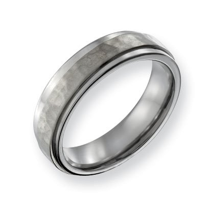 Titanium 6mm Hammered and Polished Band Ring - Size 12 - JewelryWeb