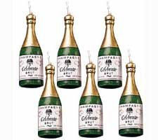 Mini Champagne Bottle Candles - 6/Pack - 1