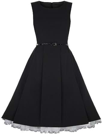 Lindy Bop 'Talia' 1950's Robe Vintage, Party Evening Dress (38, Noir)