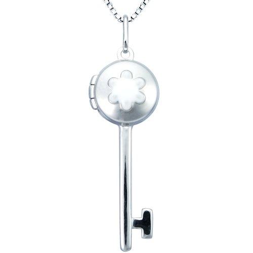 Sterling Silver White Enamel Flower Key Locket, 18