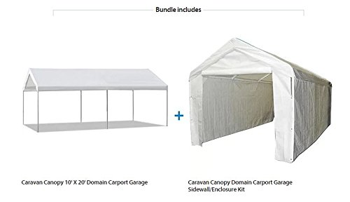Caravan Canopy 10' X 20' Domain Carport Garage with Sidewall Enclosure Kit (Garage Carport compare prices)