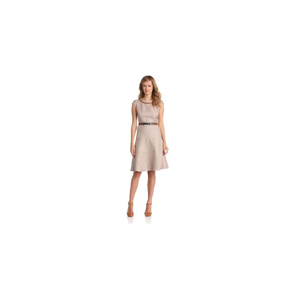 Anne Klein Womens Rattan Inset Swing Dress, Desert, 10