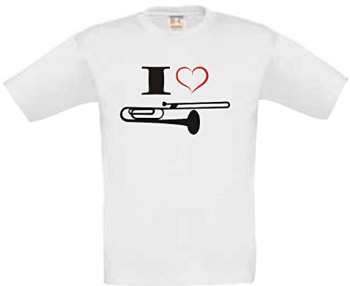 Shirtstown-Kinder-T-Shirt-Musik-I-love-Posaune-Blassinstrument