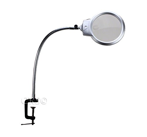 Quality-Optics-Illuminated-Desk-Mount-Magnifying-Glass-Magnifier-Led-Light-USA-XL-Metal-Clamp