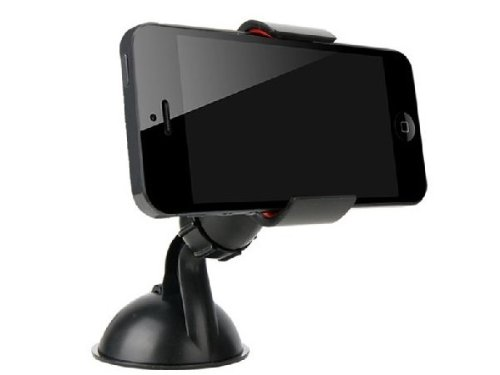 [CAR UNIVERSAL.JP] iPhone 専用 車載ホルダー360度回転 真空吸盤式 格 スマートフォン にも対応 smart phone GALAXY Xperia PSP PDA スマホホルダー ブラック