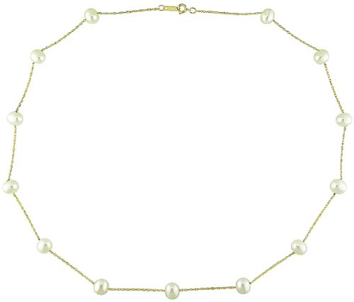 10K Yellow Gold 5.5-6mm White Cultured Freshwater Pearl Tin-Cup Necklace