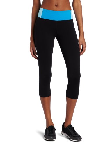 Calvin Klein Performance Women's Crop Legging, Black/Diva Blue, Small