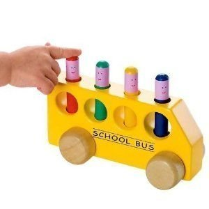 Amusing Traditional Wooden Toy - Pop Up School Bus Toy