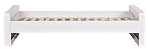Lit enfant pin brossé blanc, H219 x L95 x P53 cm -PEGANE-