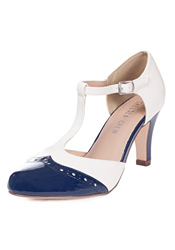 Chelsea Crew Gatsby Vintage Wingtip T-Strap Two Tone Mary Jane Pump Heel 0
