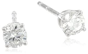 18k White Gold, Round-Cut, Diamond 4-Prong Studs (1/3 cttw, H-I Color, SI1-SI2 Clarity)