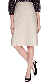 Linen Blend Panelled Knee Length Skirt
