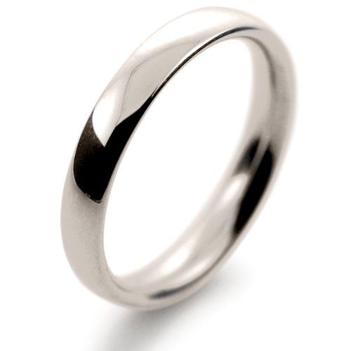 9ct White Gold Wedding Ring Court Band Medium Heavy Weight 3mm